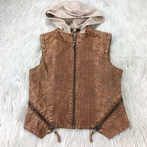 BKE Faux Leather Hooded Zip Front Vest